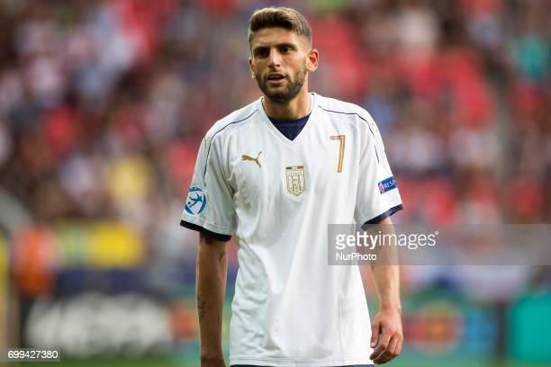 Domenico Berardi of Italy looks on during the UEFA European Under21 Championship 2017 Group C between Czech Republic and Italy at Tychy Stadium in...