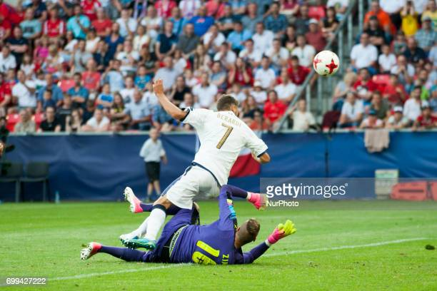 Domenico Berardi of Italy scores during the UEFA European Under21 Championship 2017 Group C between Czech Republic and Italy at Tychy Stadium in...