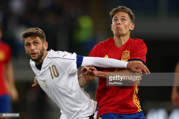 Domenico Berardi of Italy U21 compete for the ball with Marcos Llorente of Spain U21 during the International Friendly Under 21 Italia v Spagna at...