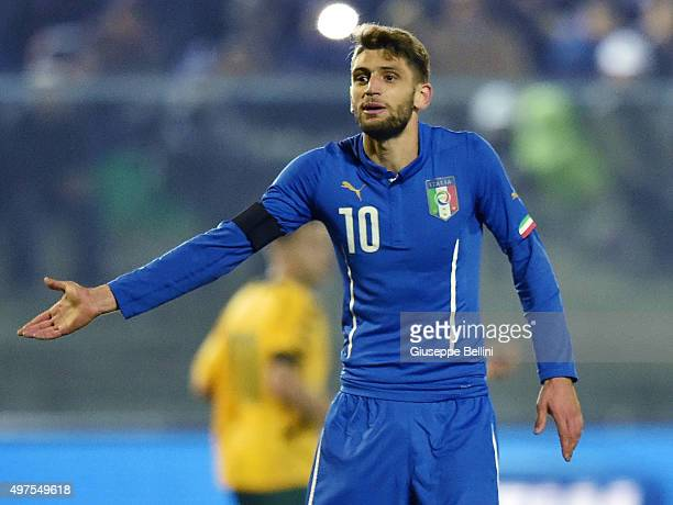 L'AQUILA ITALY NOVEMBER 17 Domenico Berardi of Italy U21 in action during the 2017 UEFA European U21 Championships Qualifier between Italy U21 and...
