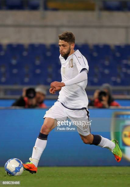 Domenico Berardi of Italy U21 in action during the international friendly match between Italy U21 and Spain U21 at Olimpico Stadium on March 27 2017...