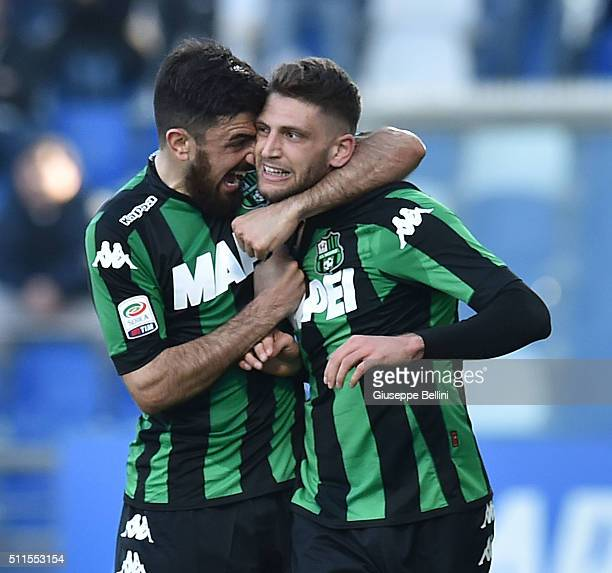 Domenico Berardi of Sassuolo celebrates after scoring the goal 11 during the Serie A match between US Sassuolo Calcio and Empoli FC at Mapei Stadium...