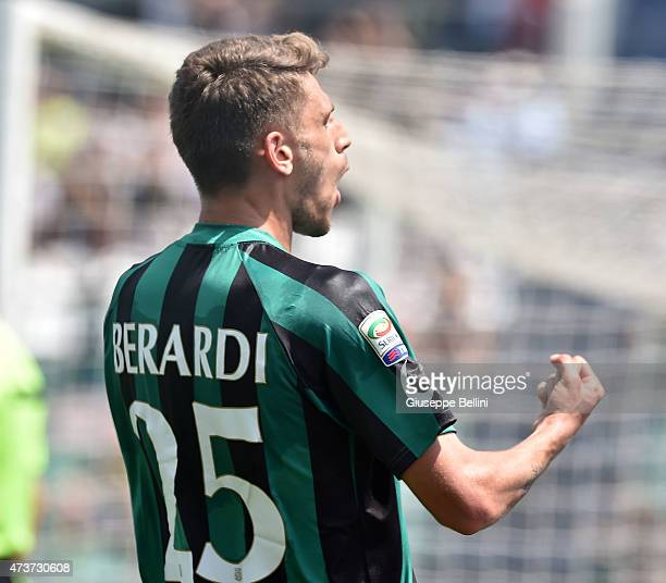 Domenico Berardi of Sassuolo celebrates after scoring the goal 20 during the Serie A match between US Sassuolo Calcio and AC Milan on May 17 2015 in...