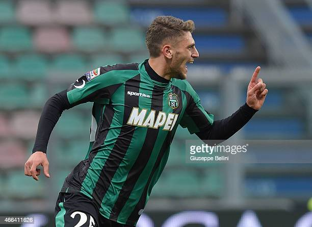 Domenico Berardi of Sassuolo celebrates after scoring the goal 31 during the Serie A match between US Sassuolo Calcio and Parma FC at Mapei Stadium...