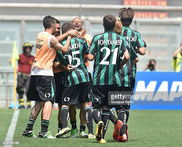 Domenico Berardi of Sassuolo celebrates after scoring the opening goal during the Serie A match between US Sassuolo Calcio and AC Milan on May 17...