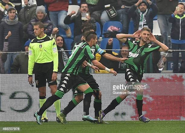 Domenico Berardi of Sassuolo celebrates after scoring the opening goal during the Serie A match between US Sassuolo Calcio and SS Lazio at Mapei...