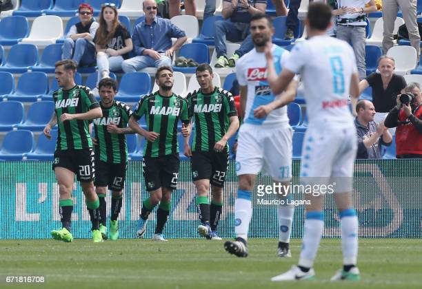 Domenico Berardi of Sassuolo celebrates the equalizing goal during the Serie A match between US Sassuolo and SSC Napoli at Mapei Stadium Citta' del...