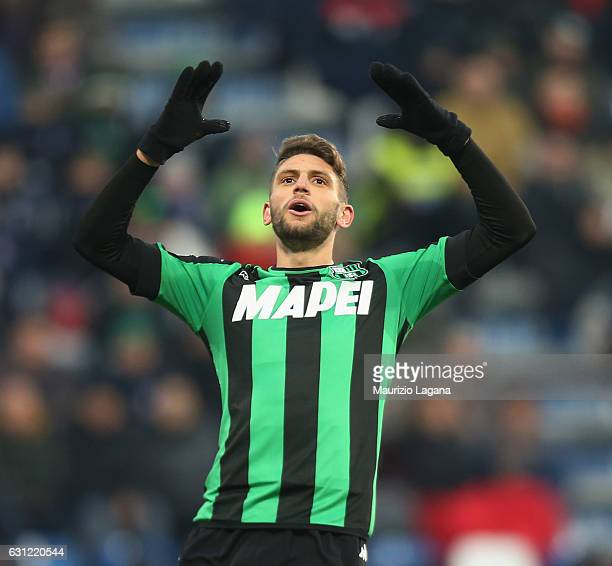 Domenico Berardi of Sassuolo during the Serie A match between US Sassuolo and FC Torino at Mapei Stadium Citta' del Tricolore on January 8 2017 in...