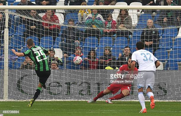 Domenico Berardi of Sassuolo kicks the penalty and scores the opening goal during the Serie A match between US Sassuolo Calcio and SS Lazio at Mapei...