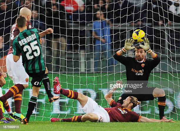 Domenico Berardi of Sassuolo scores the goal 11 during the Serie A match between AS Roma and US Sassuolo Calcio at Stadio Olimpico on November 10...