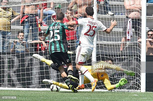 Domenico Berardi of Sassuolo scores the goal 32 during the Serie A match between US Sassuolo Calcio and AC Milan on May 17 2015 in Reggio nell'Emilia...