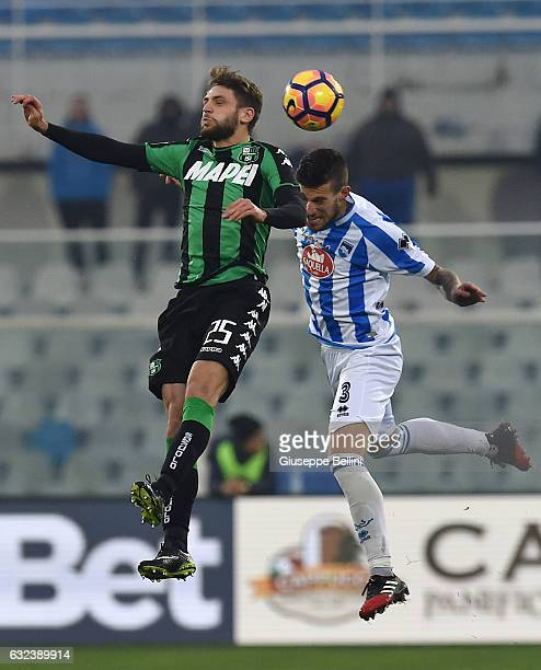 Domenico Berardi of US Sassuolo and Cristiano Biraghi of Pescara Calcio in action during the Serie A match between Pescara Calcio and US Sassuolo at...