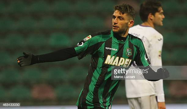 Domenico Berardi of US Sassuolo Calcio celebrates his goal during the Serie A match between US Sassuolo Calcio and ACF Fiorentina on February 14 2015...