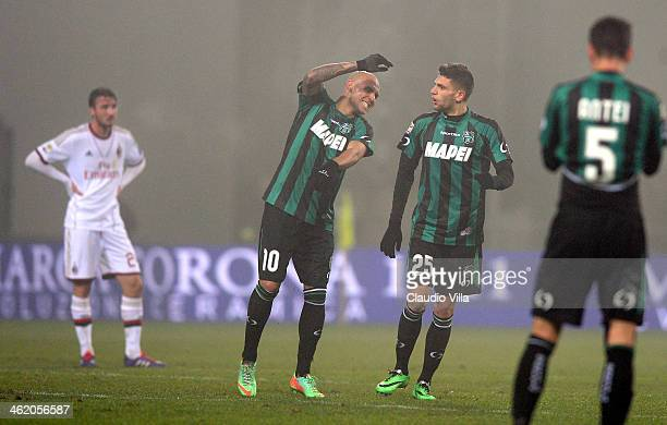 Domenico Berardi of US Sassuolo Calcio celebrates scoring the third goal during the Serie A match between US Sassuolo Calcio and AC Milan on January...
