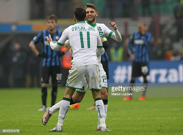 Domenico Berardi of US Sassuolo Calcio celebrates with his teammate Sime Vrsaljko after scoring the opening goal during the Serie A match between FC...