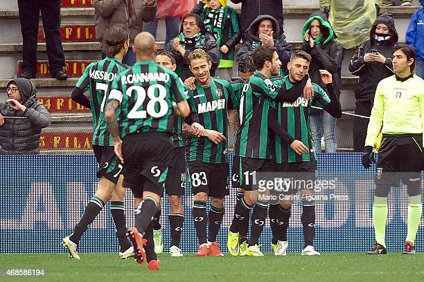 Domenico Berardi of US Sassuolo Calcio celebrtaes after scoring the opening goal from the penalty spot during the Serie A match between US Sassuolo...
