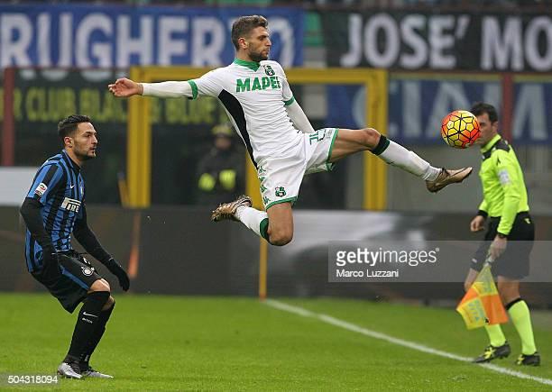 Domenico Berardi of US Sassuolo Calcio controls the ball during the Serie A match between FC Internazionale Milano and US Sassuolo Calcio at Stadio...