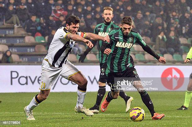 Domenico Berardi of US Sassuolo Calcio in action during the Serie A match between US Sassuolo Calcio and Udinese Calcio on January 10 2015 in Reggio...