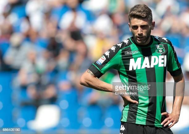 Domenico Berardi of US Sassuolo Calcio looks on during the Serie A match between US Sassuolo and Cagliari Calcio at Mapei Stadium Citta' del...