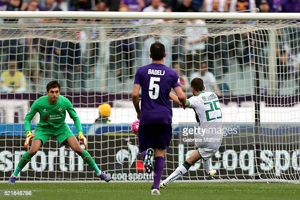 Domenico Berardi of US Sassuolo Calcio scores a goal during the Serie A match between ACF Fiorentina and US Sassuolo Calcio at Stadio Artemio Franchi...