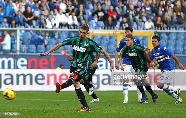 Domenico Berardi of US Sassuolo Calcio scores his second goal from the penalty spot during the Serie A match between UC Sampdoria v US Sassuolo...