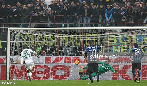 Domenico Berardi of US Sassuolo Calcio scores the opening goal from the penalty spot during the Serie A match between FC Internazionale Milano and US...