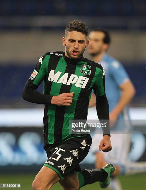 Domenico Berardi of US Sassuolo celebrates after scoring the opening goal from the penalty spot during the Serie A match between SS Lazio and US...