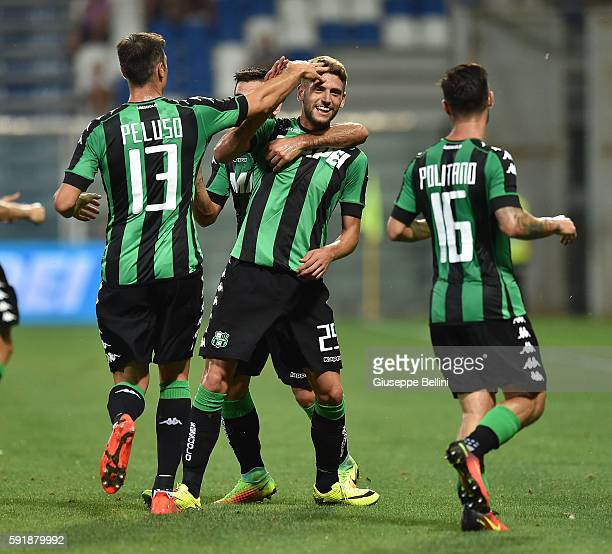 Domenico Berardi of US Sassuolo celebrates after scoring the opening goal during the UEFA Europa League playoff match between US Sassuolo and Fk...