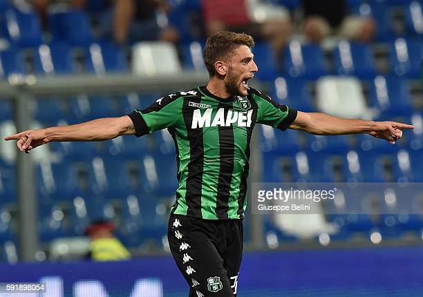 Domenico Berardi of US Sassuolo during the UEFA Europa League playoff match between US Sassuolo and Fk Crvena Zvezda at Mapei Stadium Citta' del...