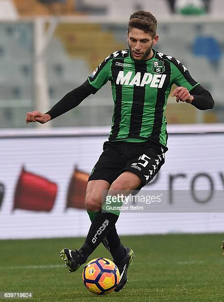 Domenico Berardi of US Sassuolo in action during the Serie A match between Pescara Calcio and US Sassuolo at Adriatico Stadium on January 22 2017 in...