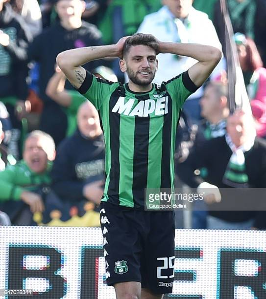 Domenico Berardi of US Sassuolo in action during the Serie A match between US Sassuolo and AC Milan at Mapei Stadium Citta' del Tricolore on February...