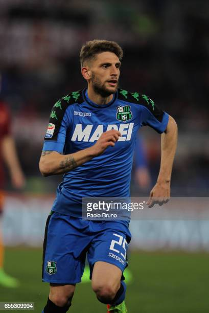Domenico Berardi of US Sassuolo in action during the Serie A match between AS Roma and US Sassuolo at Stadio Olimpico on March 19 2017 in Rome Italy