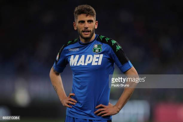 Domenico Berardi of US Sassuolo looks on during the Serie A match between AS Roma and US Sassuolo at Stadio Olimpico on March 19 2017 in Rome Italy