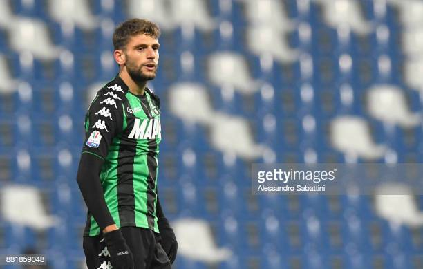Domenico Berardi of US Sassuolo looks on during the TIM Cup match between US Sassuolo and Bari on November 29 2017 in Reggio nell'Emilia Italy