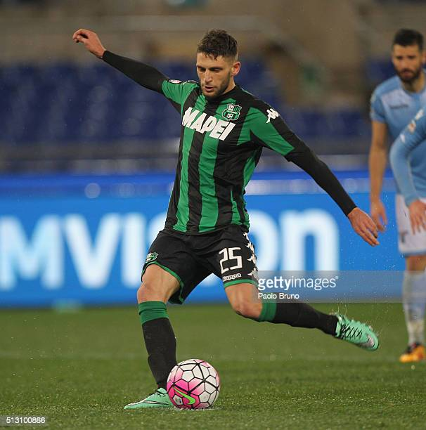 Domenico Berardi of US Sassuolo scores the opening goal from the penalty spot during the Serie A match between SS Lazio and US Sassuolo Calcio at...