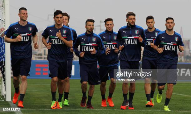 Domenico Berardi with his teammates of Italy in action during the Italy U21 training session on March 20 2017 in Rome Italy