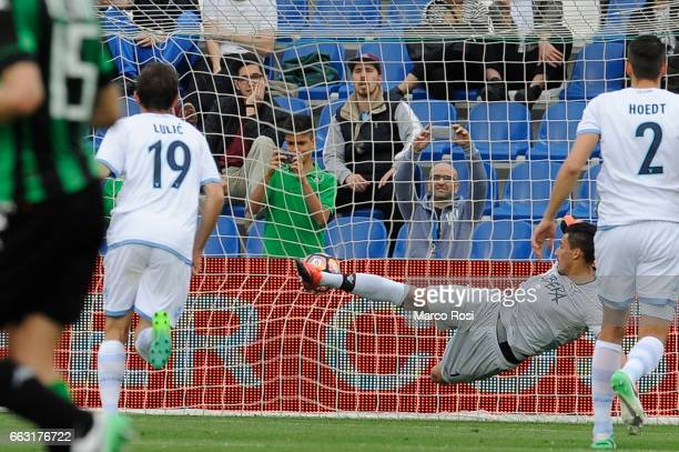 Domenico Berardo of US Sassuolo scores a opening goal a penalty during the Serie A match between US Sassuolo and SS Lazio at Mapei Stadium Citta' del...