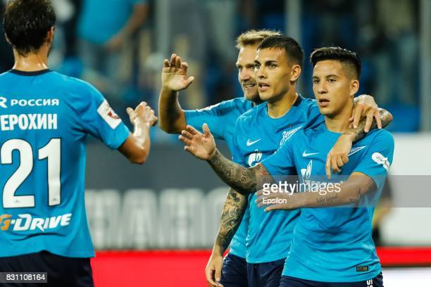 Domenico Criscito Leandro Paredes and Sebastian Driussi of FC Zenit Saint Petersburg celebrate a goal during the Russian Football League match...