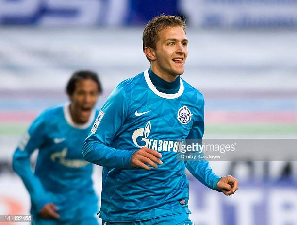 Domenico Criscito of FC Zenit St Petersburg celebrates after scoring a goal during the Russian Football League Championship match between FC Dynamo...