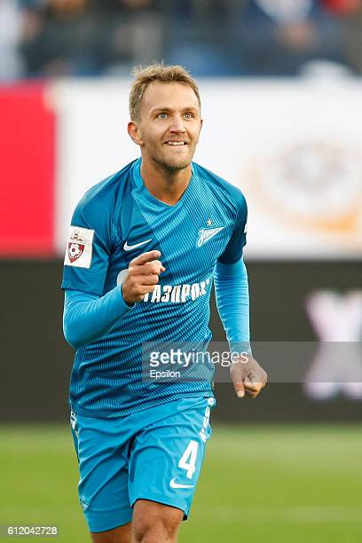 Domenico Criscito of FC Zenit St Petersburg celebrates his goal during the Russian Football League match between FC Zenit St Petersburg and FC...