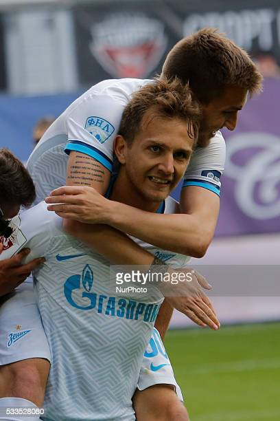 Domenico Criscito of FC Zenit St Petersburg celebrates his goal with Maxim Palienko of FC Zenit St Petersburg during the Russian Football Premier...