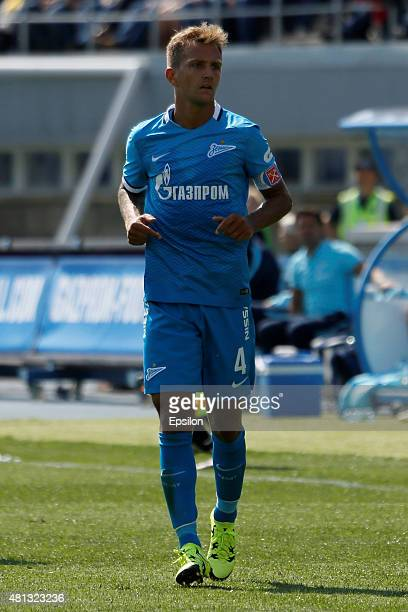 Domenico Criscito of FC Zenit St Petersburg during the Russian Football League match between FC Zenit St Petersburg and FC Dinamo Moscow at the...