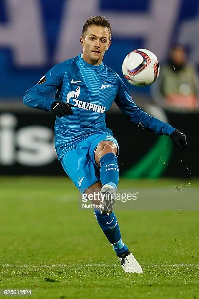 Domenico Criscito of FC Zenit St Petersburg passes the ball during the UEFA Europa League Group D football match between FC Zenit St Petersburg and...