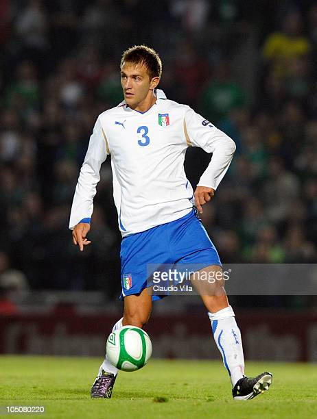 Domenico Criscito of Italy controls the ball during the Euro 2012 group C qualifying match between Northern Ireland and Italy on October 8 2010 in...