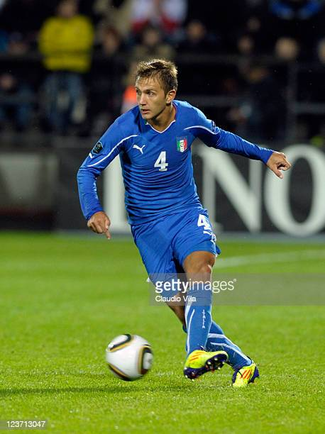 Domenico Criscito of Italy in action during the EURO 2012 Qualifier match between Faroe Islands and Italy at Torsvollur Stadium on September 2 2011...