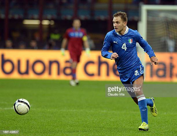 Domenico Criscito of Italy in action during the international friendly match between Italy and Germany at Giuseppe Meazza stadium on November 15 2013...