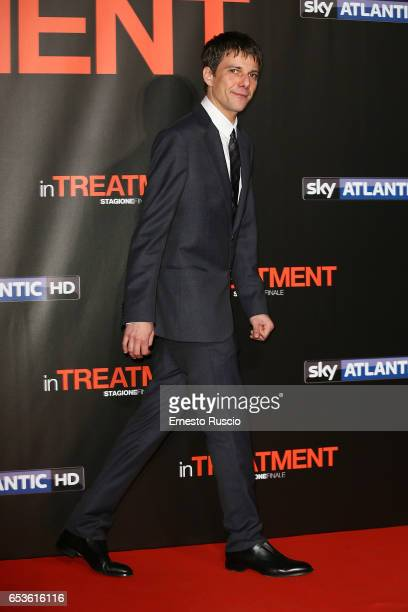 Domenico Diele walks a red carpet for 'In Treatment' at Officine Farneto on March 15 2017 in Rome Italy