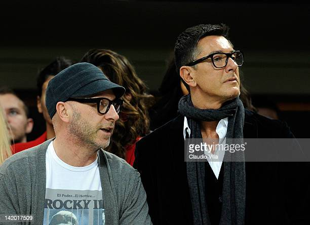 Domenico Dolce and Stefano Gabbana during the UEFA Champions League quarter final first leg match between AC Milan and Barcelona at Stadio Giuseppe...