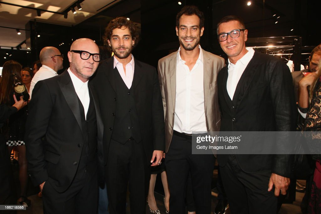 <a gi-track='captionPersonalityLinkClicked' href=/galleries/search?phrase=Domenico+Dolce&family=editorial&specificpeople=534808 ng-click='$event.stopPropagation()'>Domenico Dolce</a>, Anderson Dornelles, Diego Cristo and <a gi-track='captionPersonalityLinkClicked' href=/galleries/search?phrase=Stefano+Gabbana+-+Fashion+Designer&family=editorial&specificpeople=4820355 ng-click='$event.stopPropagation()'>Stefano Gabbana</a> attend the Dolce&Gabbana cocktail party on April 9, 2013 in Sao Paulo, Brazil.