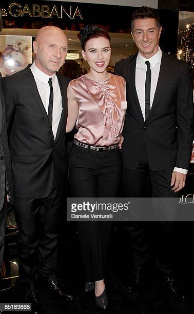 Domenico Dolce Scarlett Johansson and Stefano Gabbana attend the Dolce Gabbana 'The MakeUp' at the Rinascente during Milan Fashion Week Womenswear...